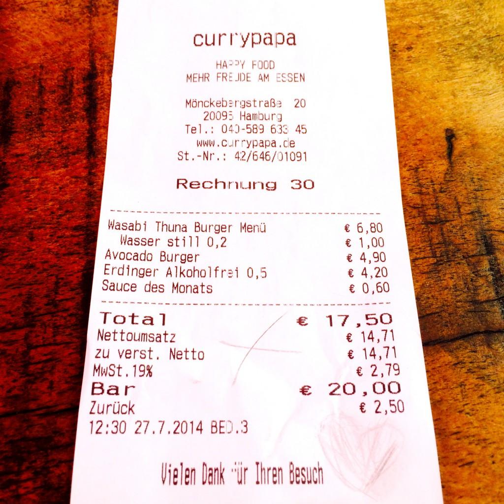 Die Abrechnung von Currypapa