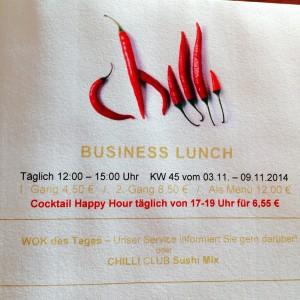 Karte mit Logo und Business Lunch Bedingungen