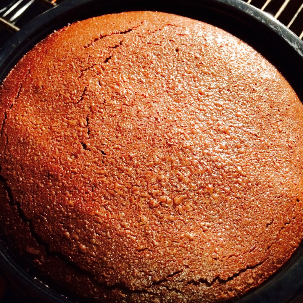 Baked Hot Chocolate Fudge Pudding in the oven