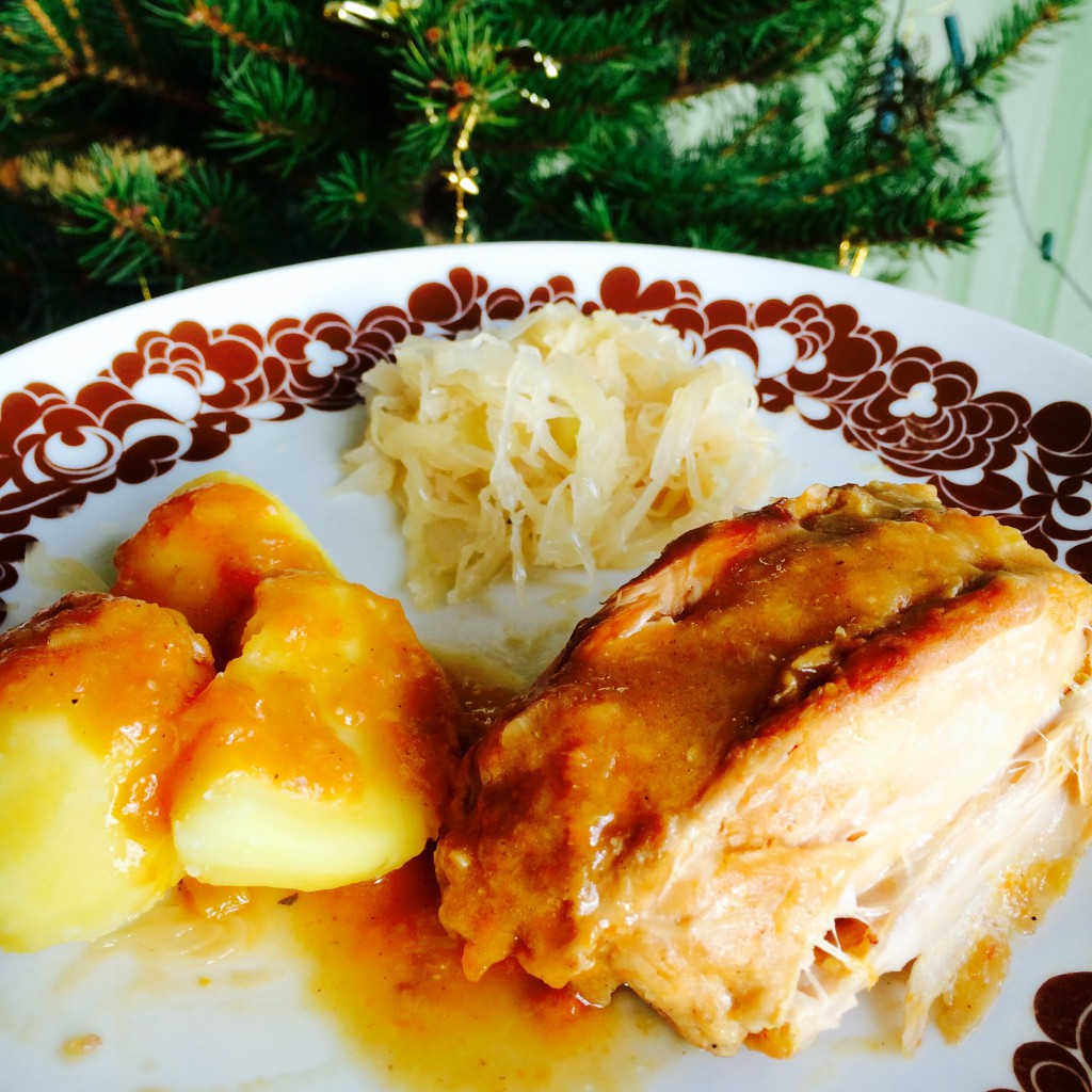 Weihnachtsessen: Kaninchen mit Sauerkraut und Kartoffeln