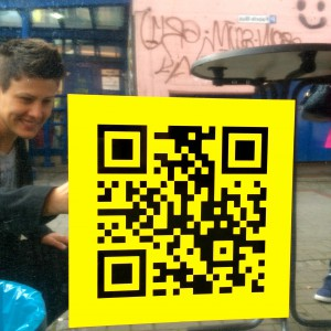 QR-Code am Vincent Vegan Wagon