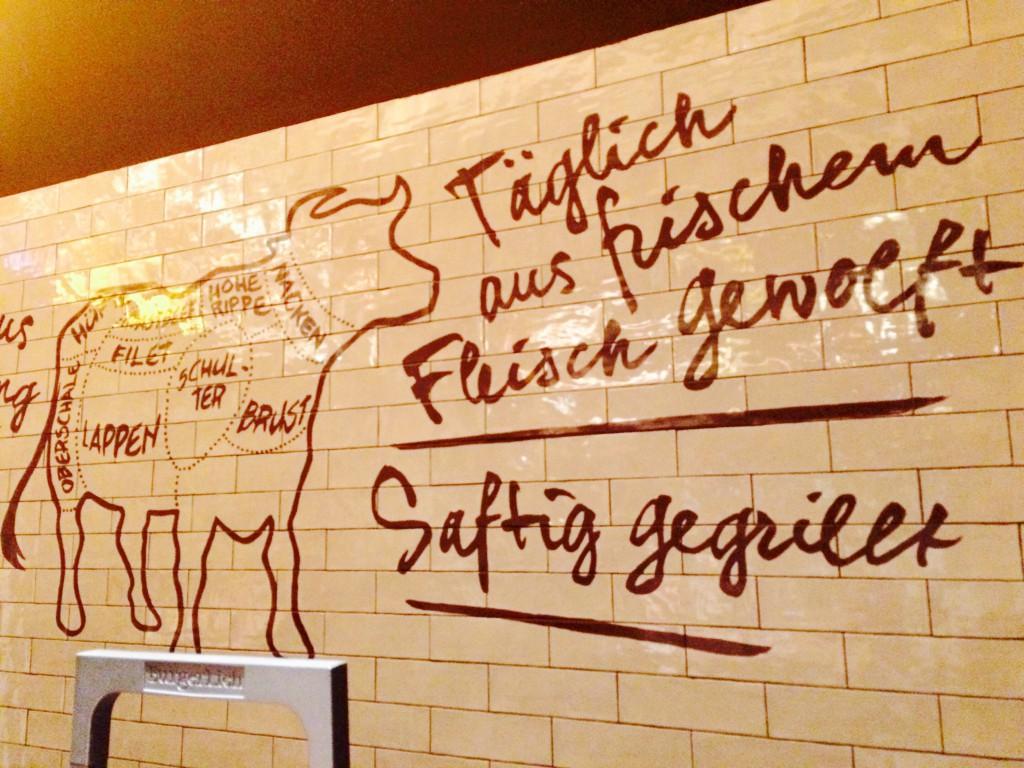 Burgerlich Hamburg Wandgrafik mit Rinderzeichnung, die unterschiedliche Fleischstücke zuordnet