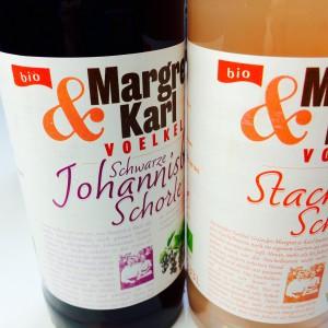 """Etiketten von den beiden Schorlen mit """"bio"""" Grafik"""