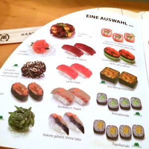 Speisekarte des Sushi Circle - Teil 1