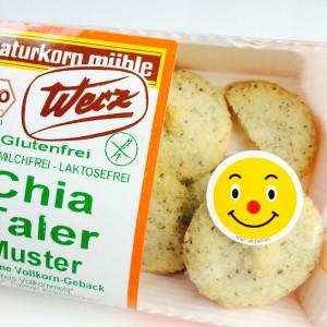 Smiley-Sticker auf der Werz Chia Taler Verpackung