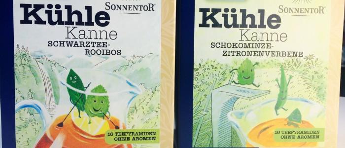 Zwei Sonnentor Kühle Kanne Boxen mit Schokominze-Zitronenverbene und Schwarztee-Roibos