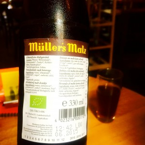 Zutatenliste des Müllers Malz, Etikett auf der Rückseite der Flasche