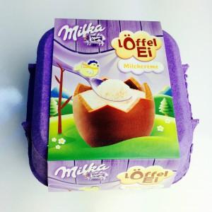 Verpackung des Milka Löffel Ei