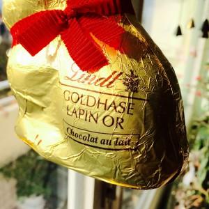 """Lindt Schokohase mit Aufschrift """"Goldhase"""""""