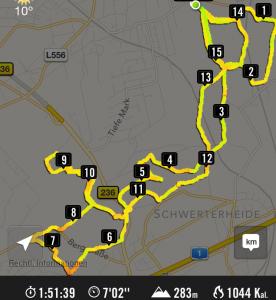 Laufstrecke aus der Nike+ App als Screenshor