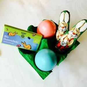 2 Eier und GEPA Osterschokolade