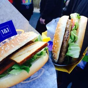 Hamburger und Tofu Burger