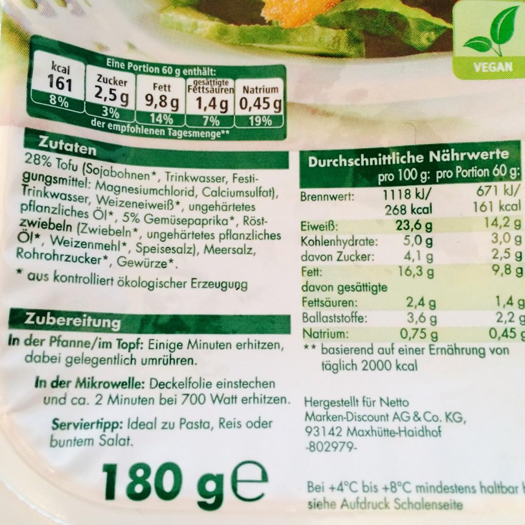 Zutatenliste und weitere Infos der BioBio Tofu-Bratstreifen