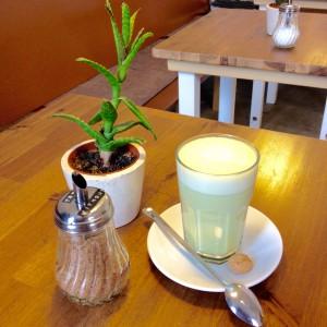 Matcha Latte, brauner Zucker und kleine Pflanze