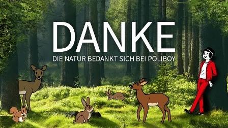 """Waldgrafik mit Poliboy Maskottchen und Schriftzug """"Danke - die Natur bedankt sich bei Poliboy"""""""