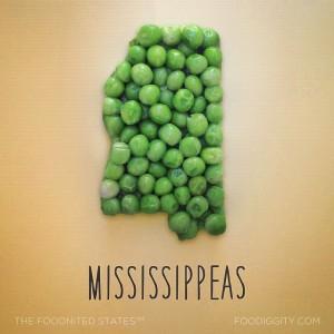 Mississippi aus Erbsen geformt