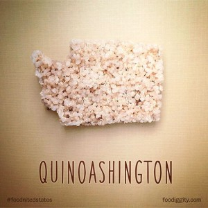 Washington mit Quinoasamen geformt