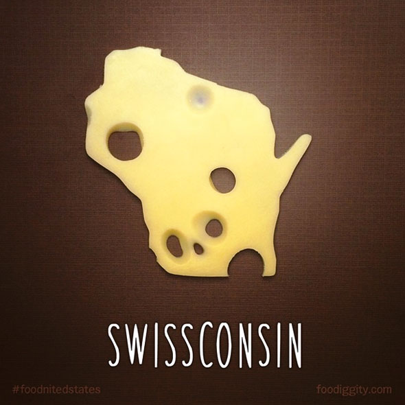 Schwizerkäse in Form des Staates Wisconsin