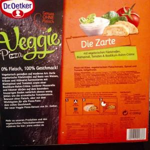 """Verpackungsrückseite mit Produktinformationen der Dr Oetker Veggie """"Die Zarte"""""""