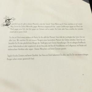 Infotext zur Hans im Glück Philosophie