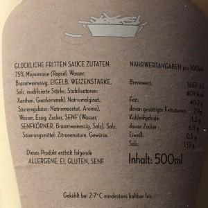 Etikett der Hans im Glück Fritten Soße