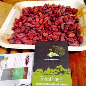 Kakaobohnen und eine Tafel Schokolade von ForestFinance beim Heldenmarkt 2016