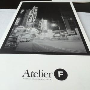 Deckblatt der Speisekarte des Atelier F Hamburg