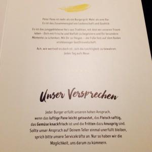 Qualitätsversprechen in der Peter Pane Speisekarte