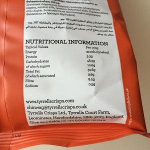 Nährwertangaben der Tyrrells Veg Crisps