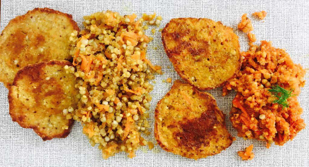 Korntaler und Grundmasse mit Kokosmilch oder Karottensaft