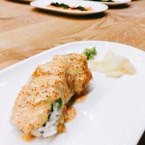 Sushi mit Scampi und Soße