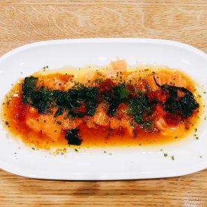 Lachs im Sashimi Style beim Hensslers Küche Public Viewing