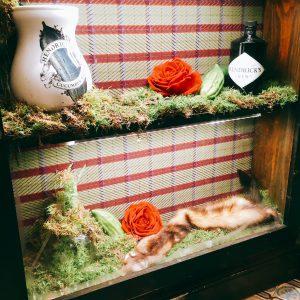 Regal mit Moos, Rosenblüten und Hendricks Gin