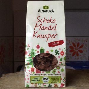 Schoko Mandel Knusper Chai Verpackung in Frontansicht