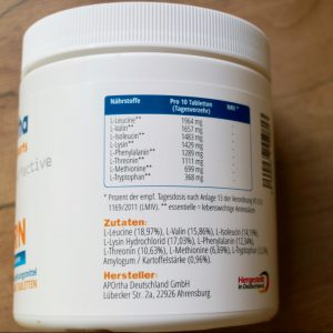 Label mit Aminosäuren des APOrtha Sports Amino Pattern