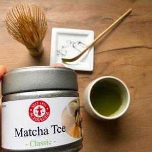 Matcha Dose vor Tee-Zubehör